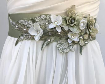 Floral Bridal Sash, Wedding Sash, Flower Sash, Lace Sash, Swarovski Crystals And Pearls, Moss Green & Ivory, Wedding Dress Sash