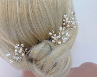 Freshwater Pearl And Swarovski Crystal Bridal Hairpin Set, 3 Piece, Silver Wedding Hairpins, Crystal Hairpins