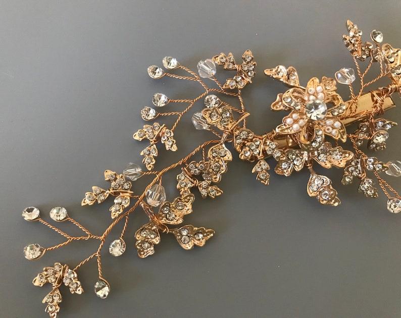 Crystal Flower Leaf Wedding Hair Clip  Bridal Hair Clip  Crystal Bridsl Hair Clip  Gold Bridal Hair Vine  Boho Floral Vine Hairpiece