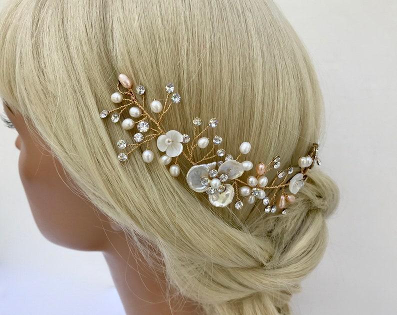 Crystal /& Freshwater Pearl Bridal Flower Wedding Hair Vine  Pearl Floral Headpiece    Champagne Pearl   Gold Floral Wedding Headpiece