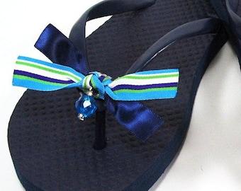 474a21a8c Aqua Blue Striped Bow Shoe Clips