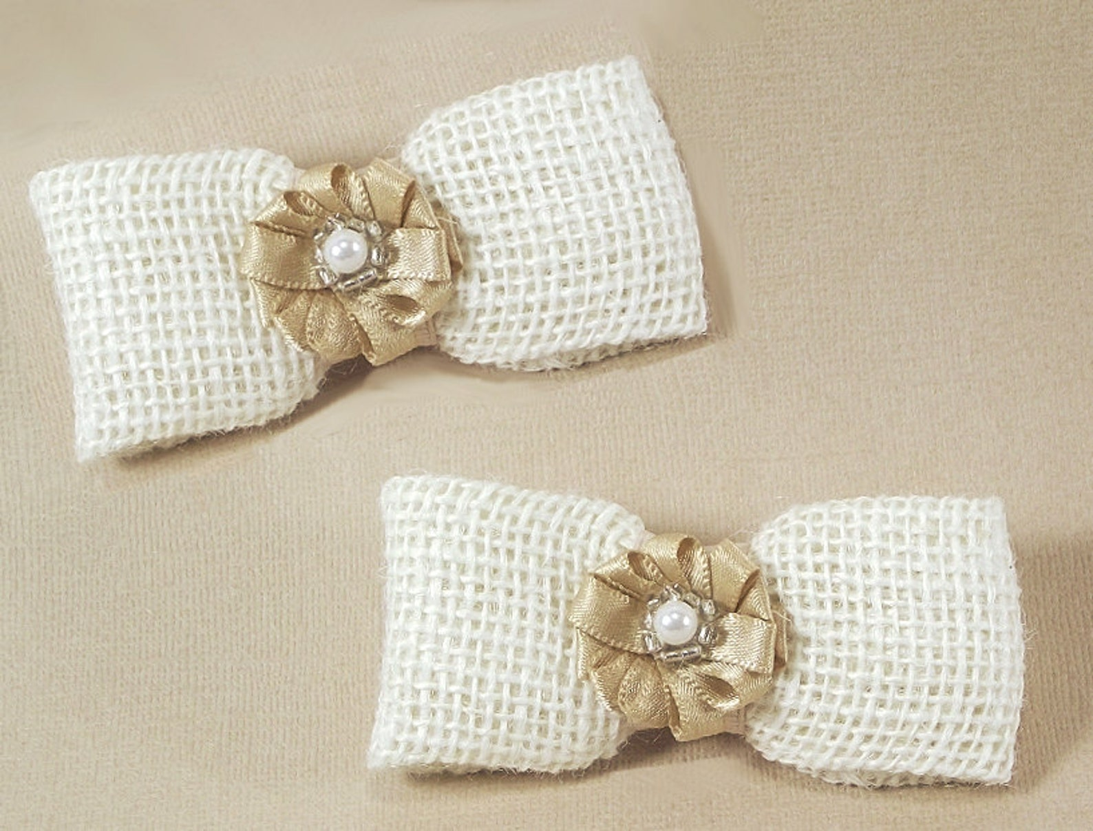 cottage chic wedding bow shoe clips, creamy white satin burlap and pearl shoe clips, for high heels sandles & ballet flats