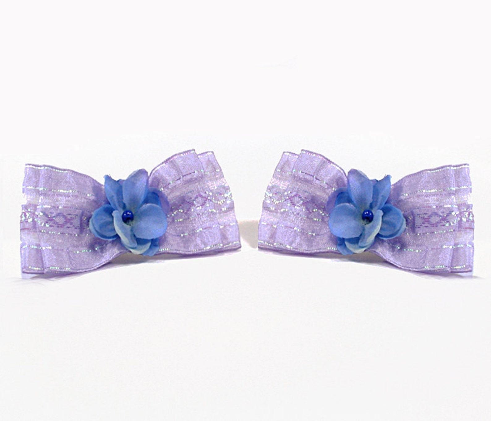 purple lavendar flower bow shoe clips, easter shoe clips, clips for flip flops, high heels, sandles and ballet flats, bridesmaid