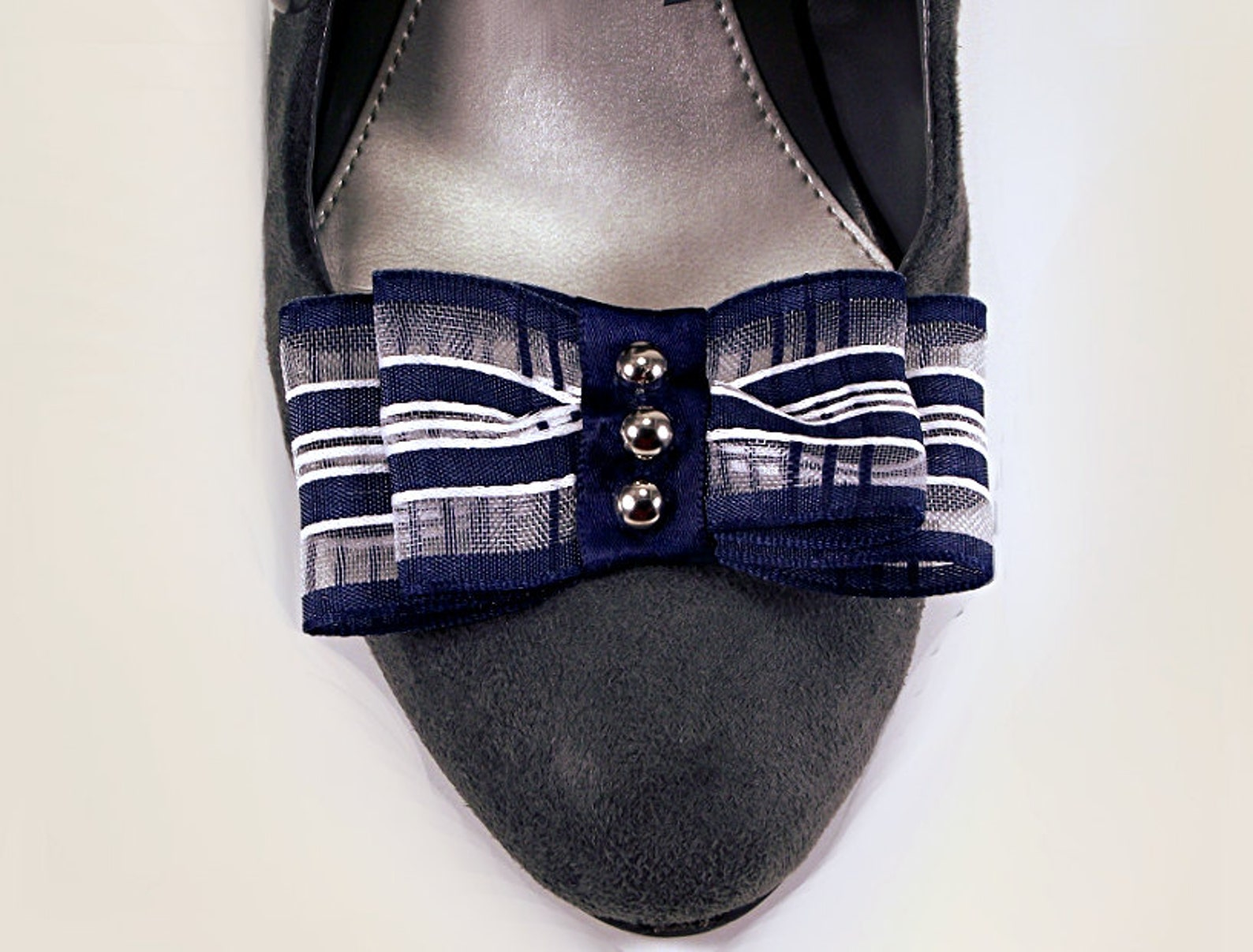 bow shoe clips, striped studded nautical bow shoe clips, navy blue wedding shoe clips, shoe clips for heels ballet flats flip fl
