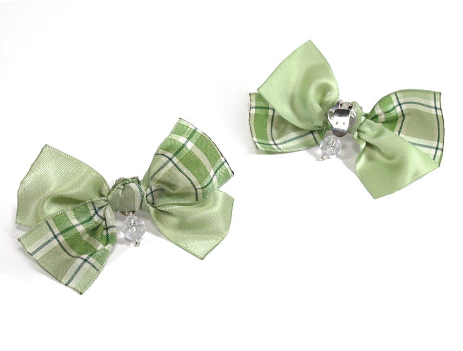 handmade green shoe clips, bow shoe clips, for high heels, sandles and ballet flats, wedding shoe clips, wedding bow shoe clips