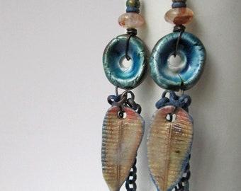 Strange Good Is Coming - rustic blue earrings w/ artisan ceramics; unique ooak grungy tribal earrings, primitive assemblage earrings