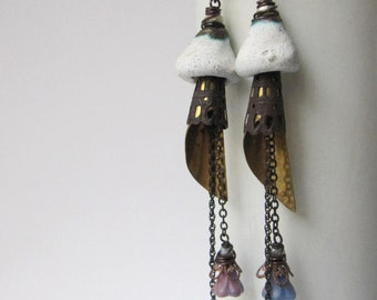 Cover Her Face - rustic cone earrings w/ vintage parts and artisan ceramics; grungy gothic mixed media primitive assemblage earrings