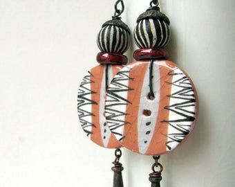 Now? So Soon? - rustic button earrings w artisan ceramics; red black white earrings, grungy gothic tribal, primitive assemblage earrings