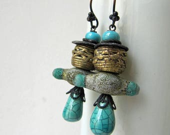 Observants - rustic turquoise earrings w/ artisan ceramics and lampwork; blue grungy tribal post-apocalyptic primitive assemblage earring
