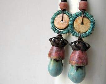 Between Clouds - rustic pink and blue earrings w/ artisan ceramics; grungy boho, unique ooak, mixed media, primitive assemblage earrings