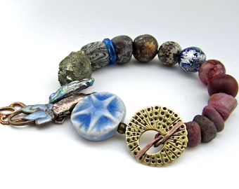 Constance - rustic plum and deep blue bracelet w/ gemstones and art beads; shabby spacey mixed media grungy primitive assemblage bracelet