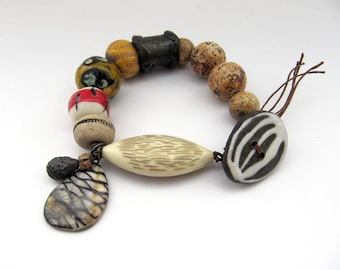 What Shall Please The Wind - rustic, tribal mixed media bracelet w/ artisan ceramics; earthy, unique, grungy, primitive assemblage bracelet