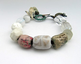 Dreaming Of Dynamite - rustic white bracelet with art beads; grunge girl, off-white bracelet; unique, ooak, primitive assemblage bracelet