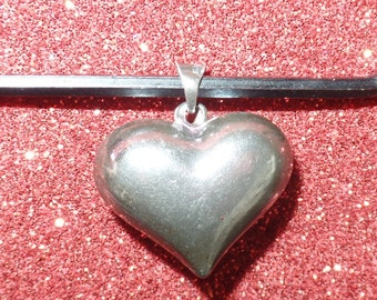 Sterling Silver Puffy Heart Vintage Pendant