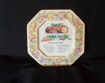 Avon 1982 Hospitality Collectible Tin Plate with Buche de Noel Recipe