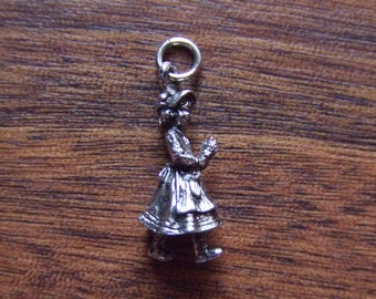 Vintage Pendant Little Girl Holding Flowers