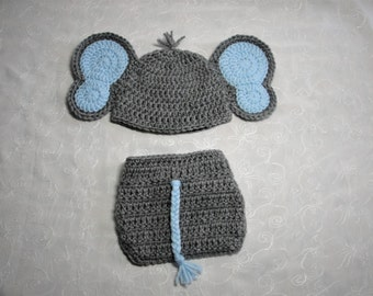 Newborn Baby Boy Elephant Hat with Matching Diaper Cover Set~Photo  Prop~Newborn Diaper Set~ Crochet Elephant Diaper Set~Dark Gray Elephant a27378b2d08