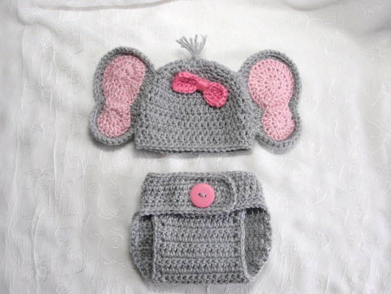 Newborn Baby Crochet Elephant Hat and Diaper Cover Set Newborn | Etsy | 596x794