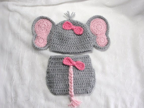 Newborn Baby Girl Elephant Hat with Matching Diaper Cover  072508c9572