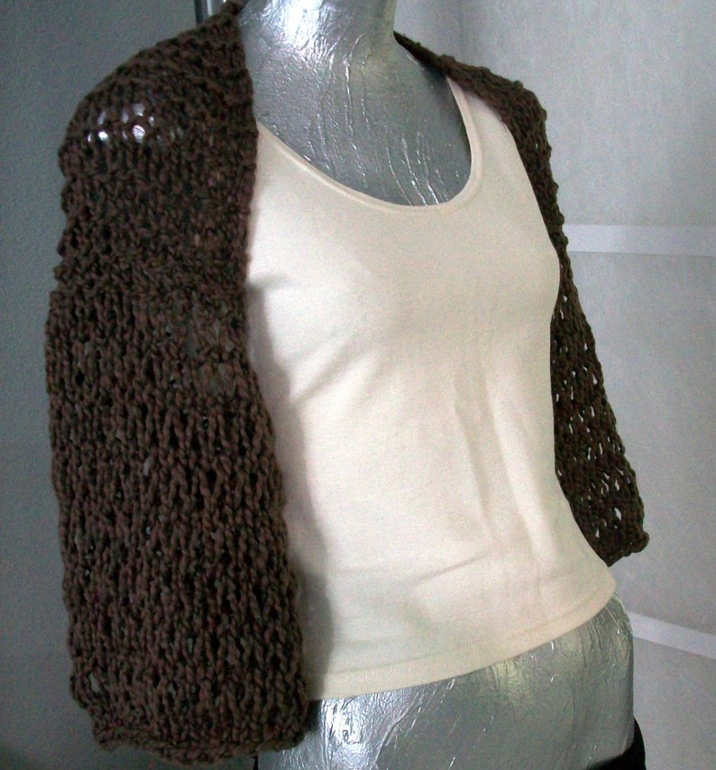 SWEATER WOMAN KNITTED   Shrug  Clothing  Sweater  Shoulder cover   Wrap  Teens  Girls  Poncho Brown Sleeves
