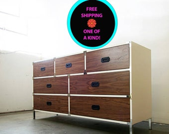 FREE SHIPPING - Handcrafted Walnut and White Lacquer Industrial Mid Century Campaign Dresser / CLOSEOUTSALE