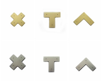 Campaign Furniture Brackets - X, L and T - Polished Brass, Chrome, or Matte Black - FAST SHIPPING