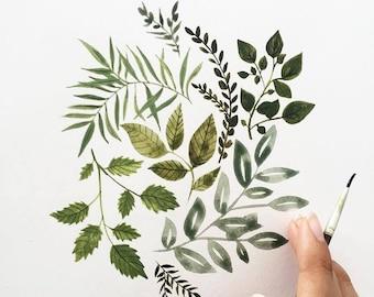 Botanical print, Leaf print, Nature wall art, Nature art print, Green leaves print, Minimalist nature print, Nature lover gift