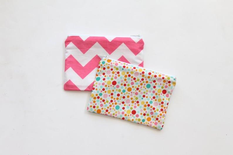 Small zippered cotton coin pouch purse \u2022 pink blue chevron polka dots birds