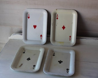 Vintage Mini Metal Trays, Ace, Card Deck, Hearts, Diamonds, Spades, Clubs, Set of 4
