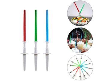 12 pc STAR WARS Theme Mini Plastic Light Saber Cupcake TOPPERS Cake Table Candy Bar Picks Decor Jedi Yoda Darth Vader Birthday Decoration