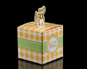 Cute Monkey Born To Be Wild Jungle Favor Boxes Set of 24 IPP002 Party Decorations Favors