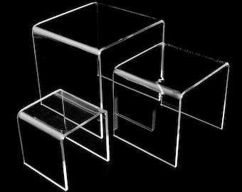 """1 Set of 3 Display Stand 3""""4""""5"""" GOOD QUALITY Acrylic Clear Riser Square Book Stand Jewelry Showcase FANCY Mother's Day"""