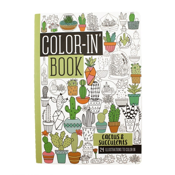 24 Page Coloring Book Cactus Succulents Travel Size Small On