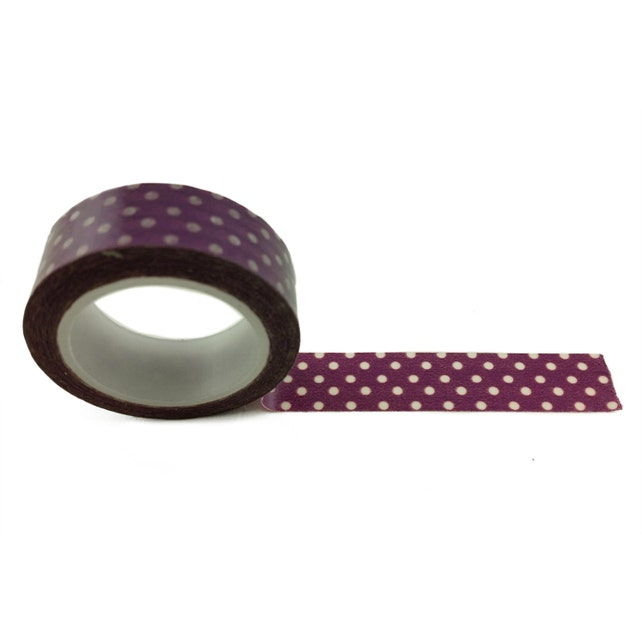 """Classic Purple and White Polka Dot Washi Tape 15mm (0.59"""") wide x 10 yards long Craft Masking Japanese Paper Tape FREE SHIPPING"""