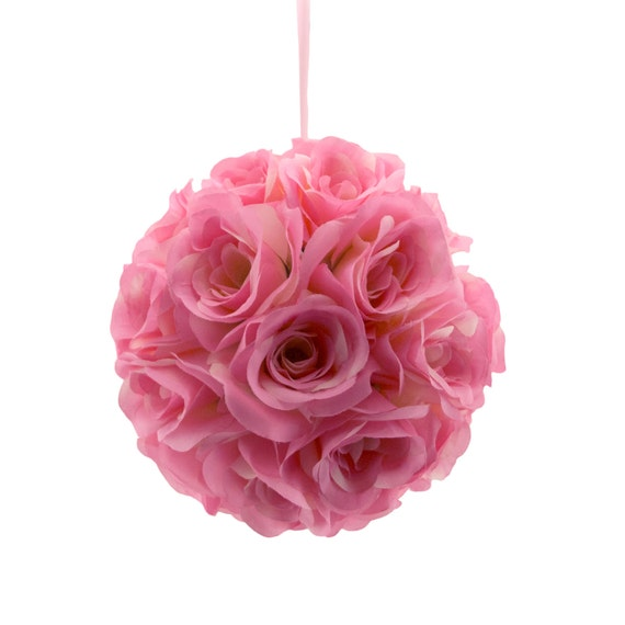 9 ballet pink silk rose flower pomander kissing balls etsy image 0 mightylinksfo