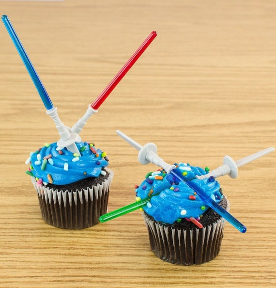 12 pc STAR WARS Theme Mini Plastic Light Saber Cupcake TOPPERS | Etsy