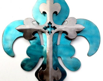 2-Part Blue & Polished Cross Fleur De Lis