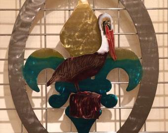 Pelican Welcome Fleur De Lis