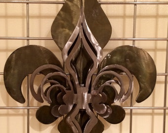 3- Part Open Patina & Polished Fleur De Lis