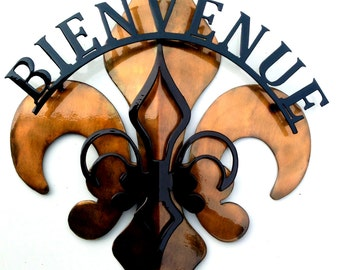 3- Part Black & Gold Bienvenue Fleur De Lis