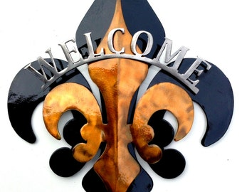 3- Part Black & Gold Welcome Fleur De Lis