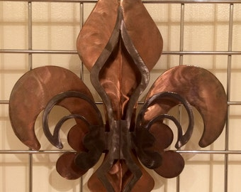 2- Part Open Copper & Pewter Fleur De Lis