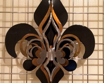 3-Part Open Black, Gold, Polished Fleur De Lis