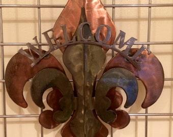 3- Part Copper,Patina & Polished Welcome Fleur De Lis