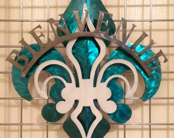 3-Part Blue, White & Polished Fleur De Lis