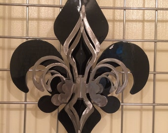 3- Part Black & Polished Fleur De Lis