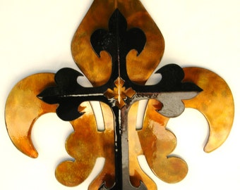 2- Part Black & Gold Cross Fleur De Lis