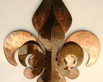 2- Part Solid Copper and Patina Fleur De Lis