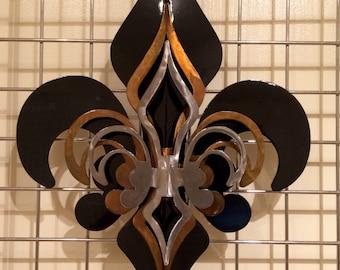 3-Part Open Black, Gold, Polished Fleur De Lis