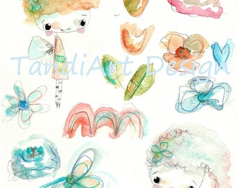 Rainbowfairies- digital image for collage, home decor and papercraft, a printable image, art journaling, fairy girl, collage sheet, wall art